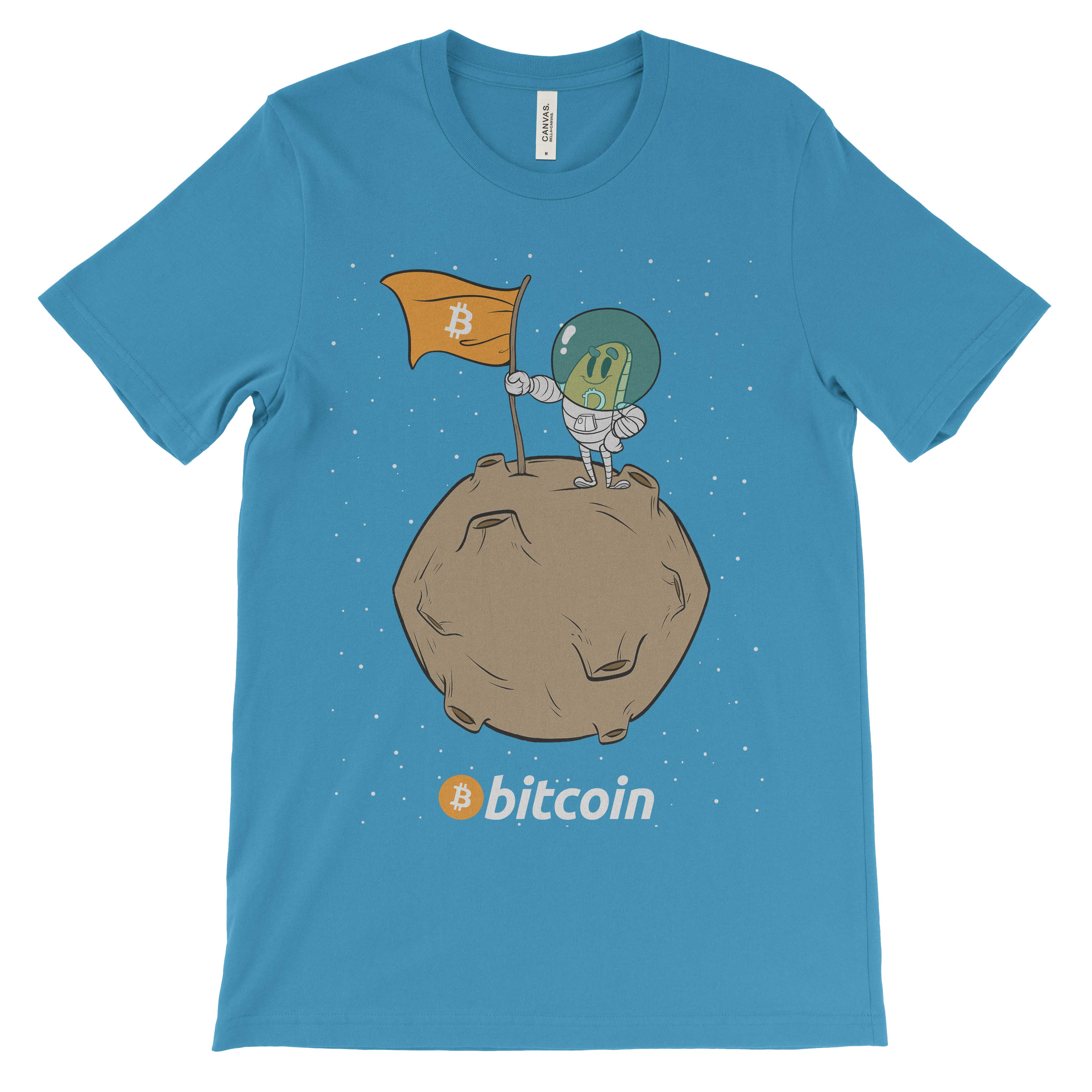bitcoin cryptocurrency astronaut to the moon landing t shirt