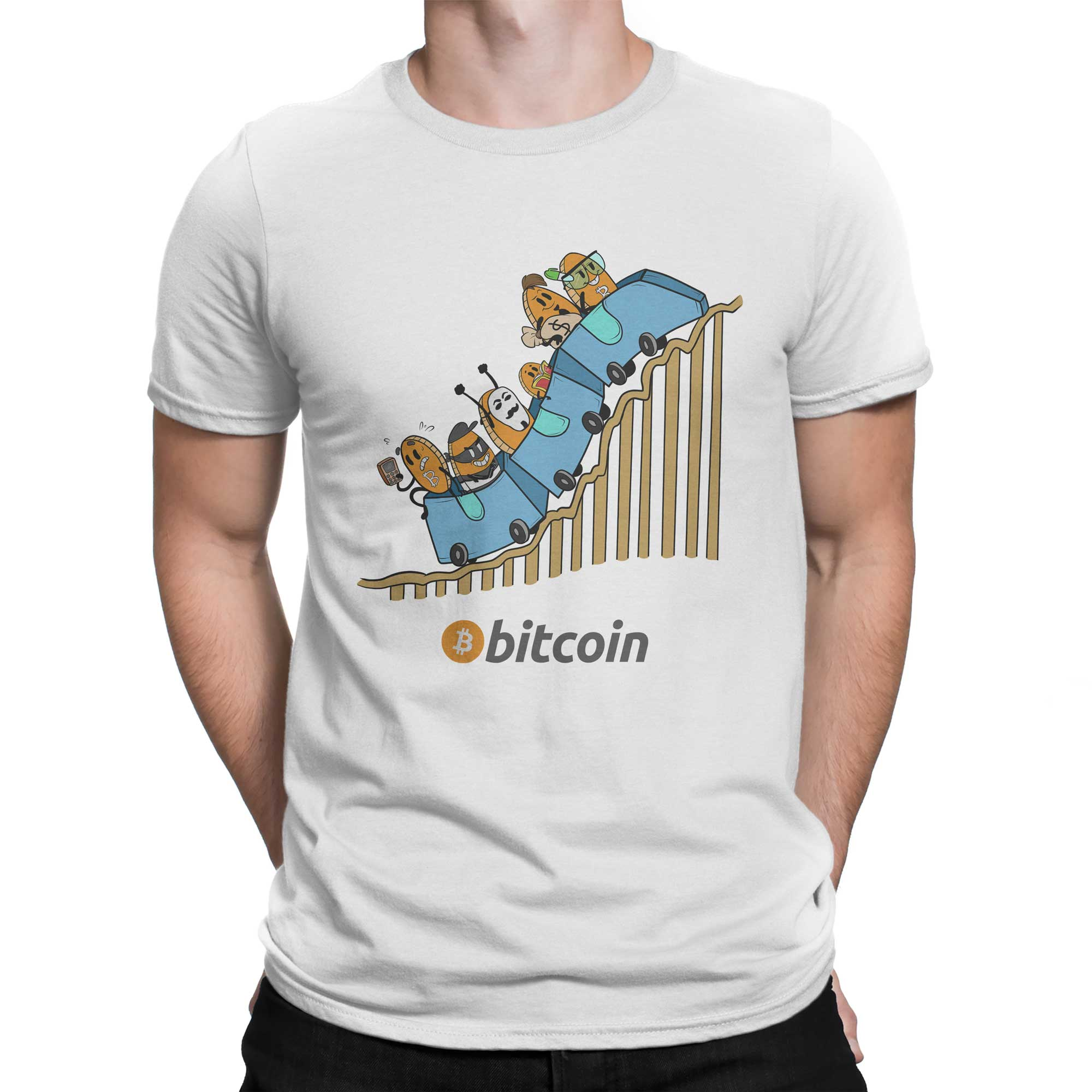 Bitcoin Cryptocurrency Roller coaster Colored T-Shirt ...
