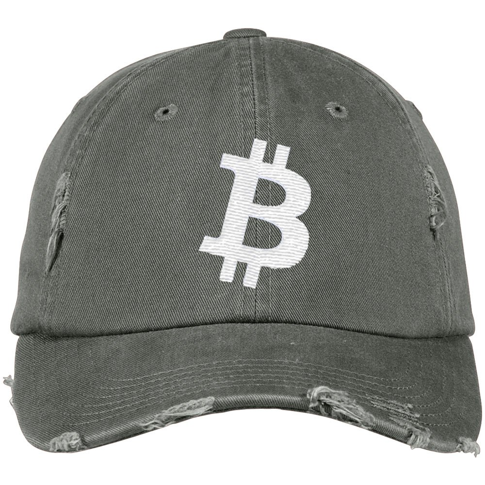 002413ff6 Bitcoin Embroidered Logo Distressed Dad Cap