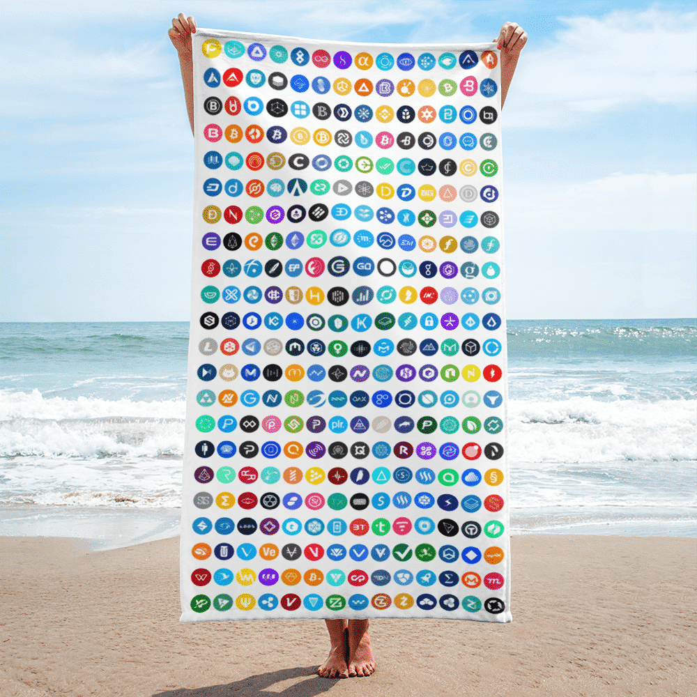 Crypto Beach Towel - Featuring 308 Cryptocurrency logos